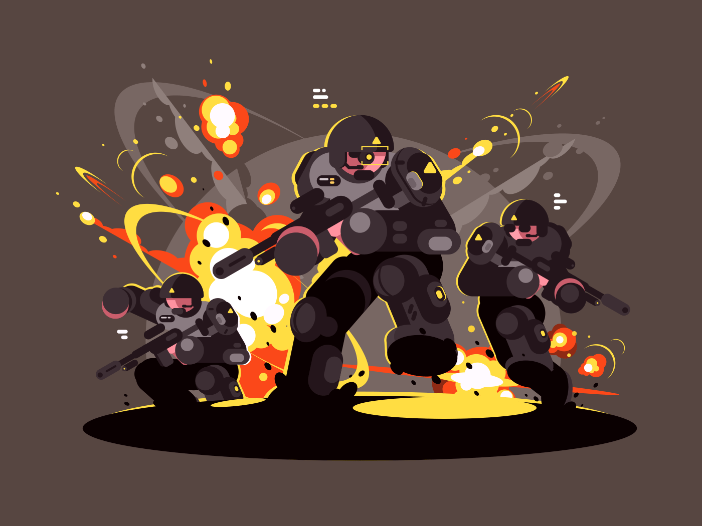 Military infantry soldiers in battle. Dangerous explosions and shots. Vector illustration