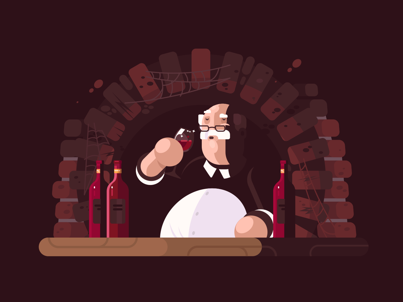 Sommelier tasting wine illustration