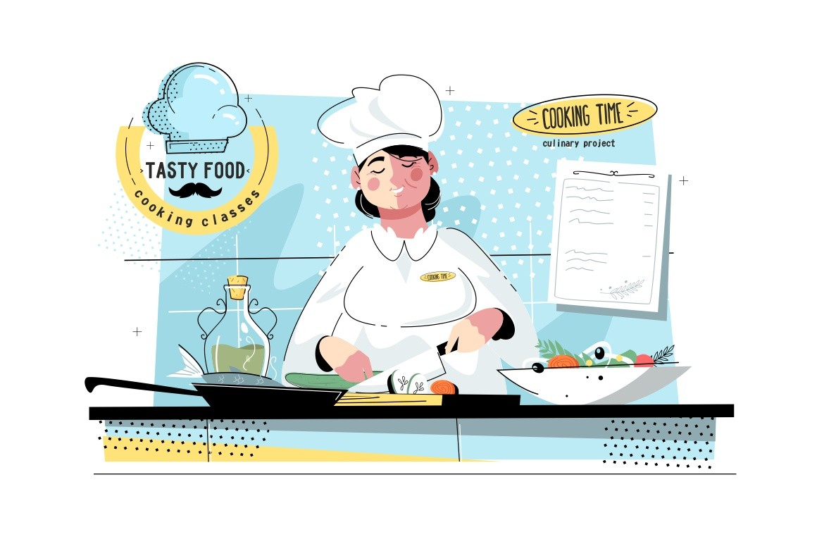 Woman sous-chef at kitchen vector illustration. Cook wearing cook-hat, uniform and cutting vegetables, fish for rolls flat style design. Tasty food and cooking classes concept