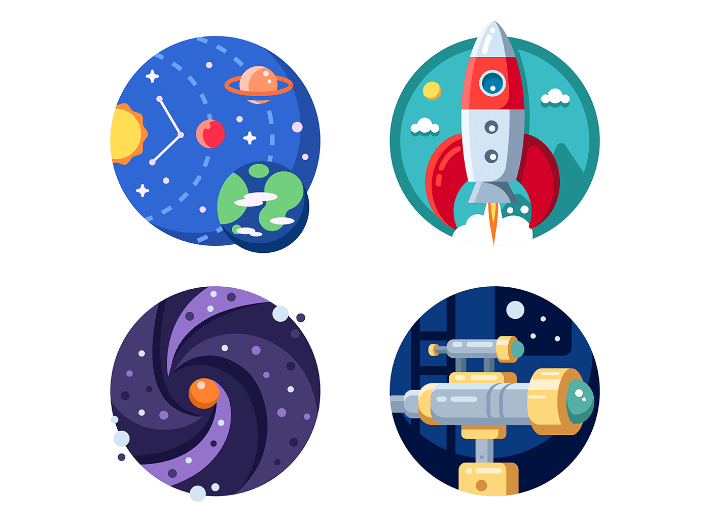 Cosmic research of solar system icons