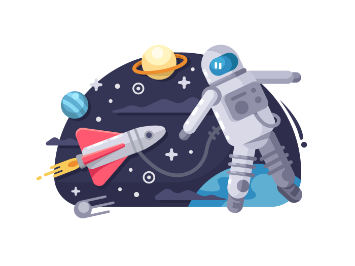 Astronaut in outer space illustration