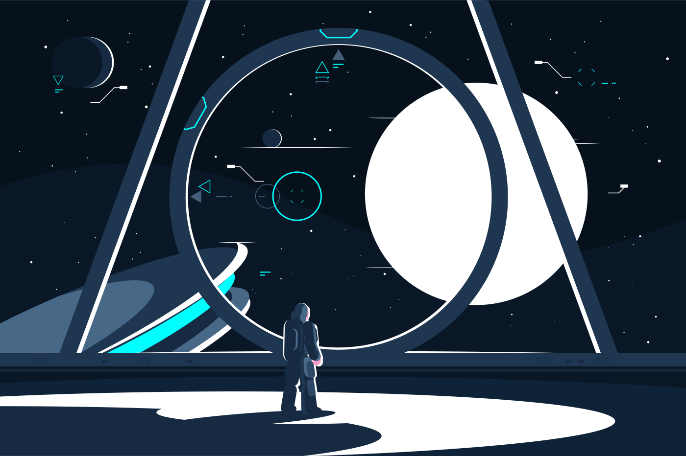 Spacesuit astronaut in spaceship looking at moon. Space station interior. Flat. Vector illustration.
