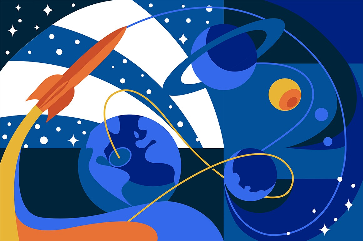 Cosmos travel on spaceship vector illustration. Planets, stars and spacecraft in outer space flat style design. Technologies of future. Dark cosmic background