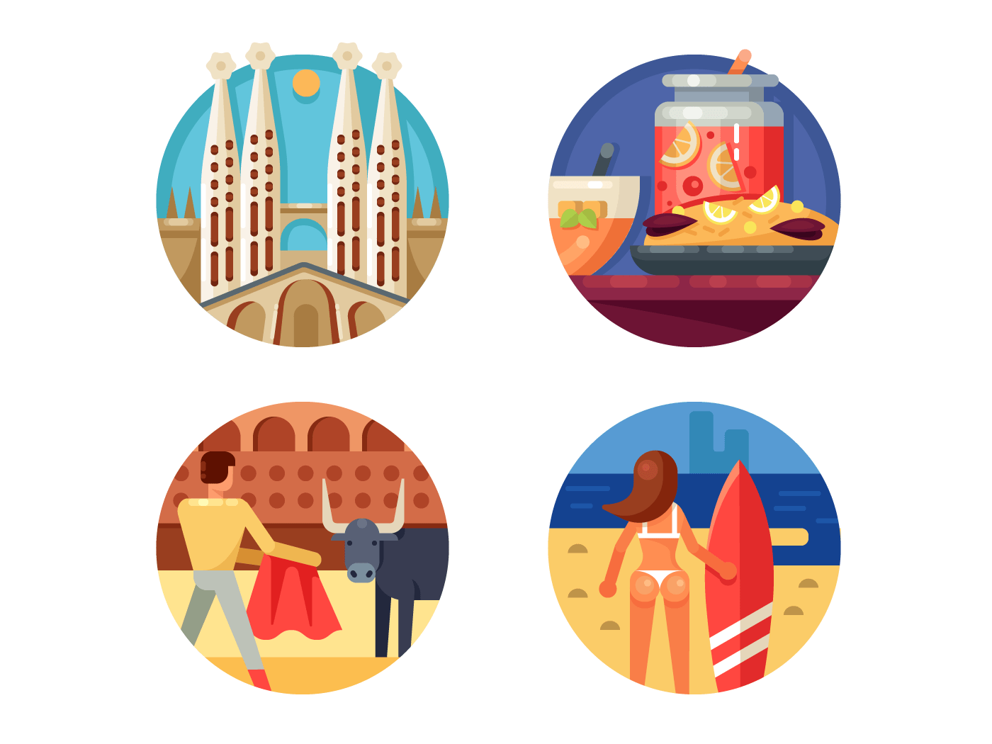 Holidays in Spain set icons