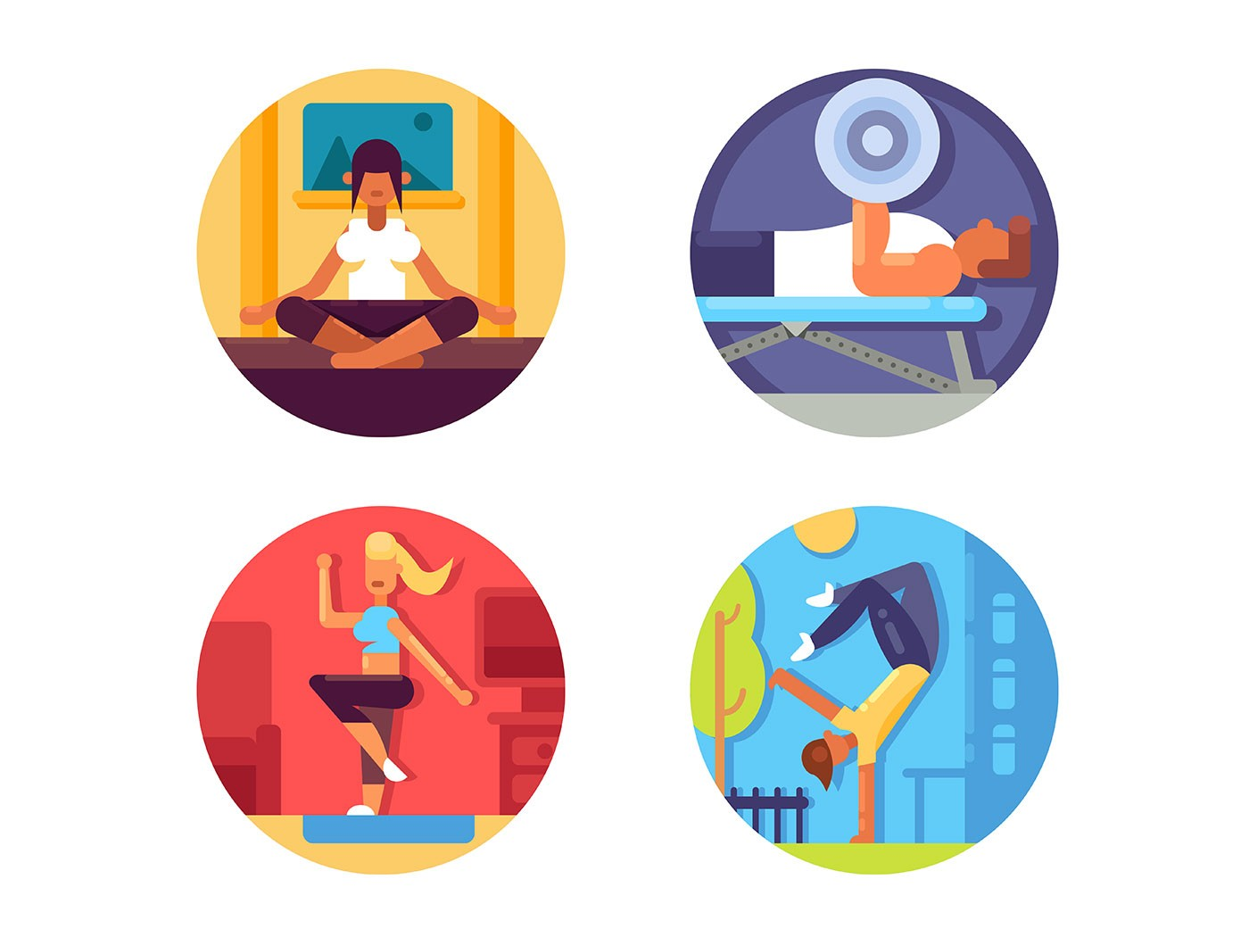 Fitness for healthy life icons