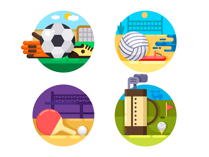 Collection of sports ball games icons