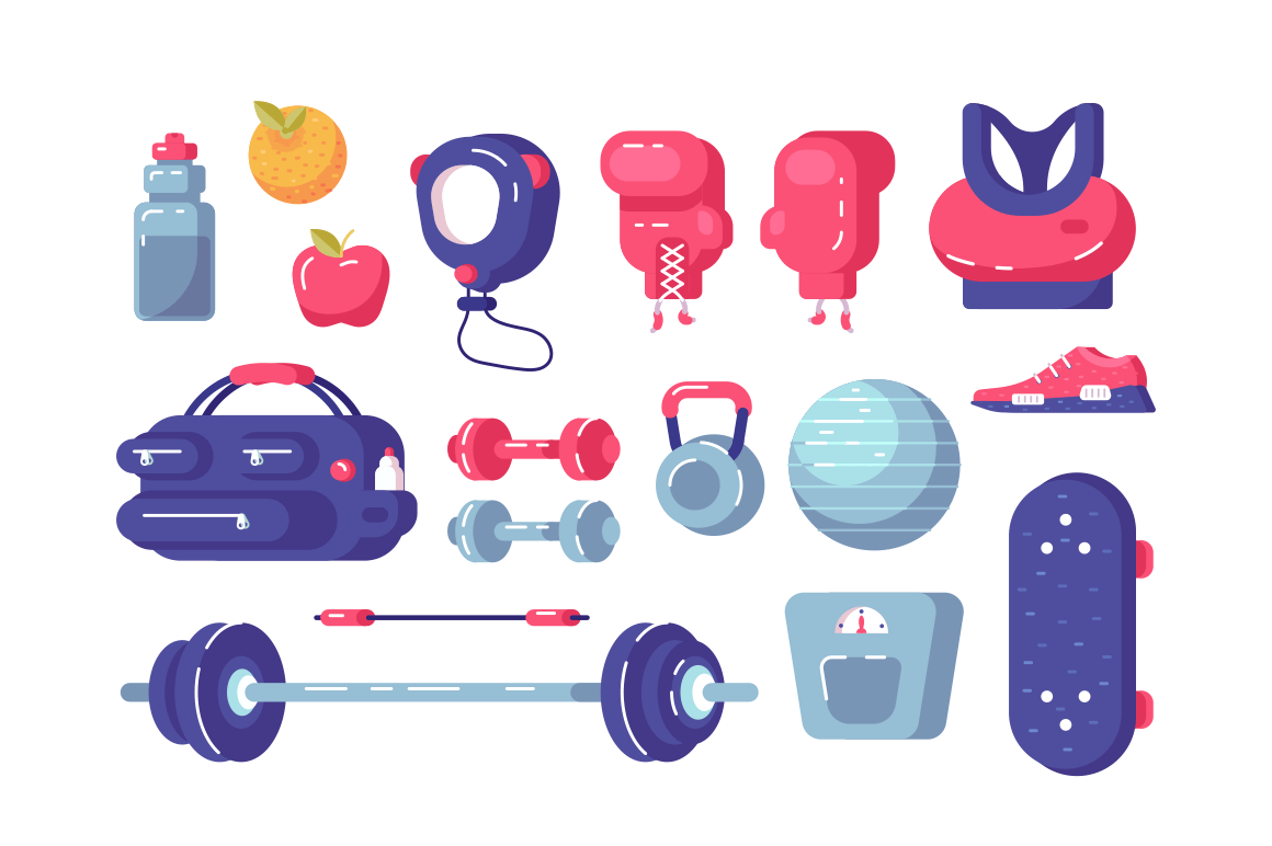 Sport equipment set vector illustration. Collection consists of sportswear, shoes, dumbbells, fitball, weight and boxing gloves flat style design. Healthy lifestyle concept