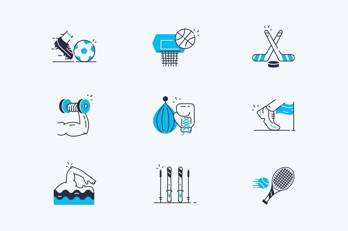 Sport line icons set vector illustration. Collection consists of different kinds of sports football, basketball, hokey, powerlifting, boxing, running, swimming, skiing and tennis symbols flat style
