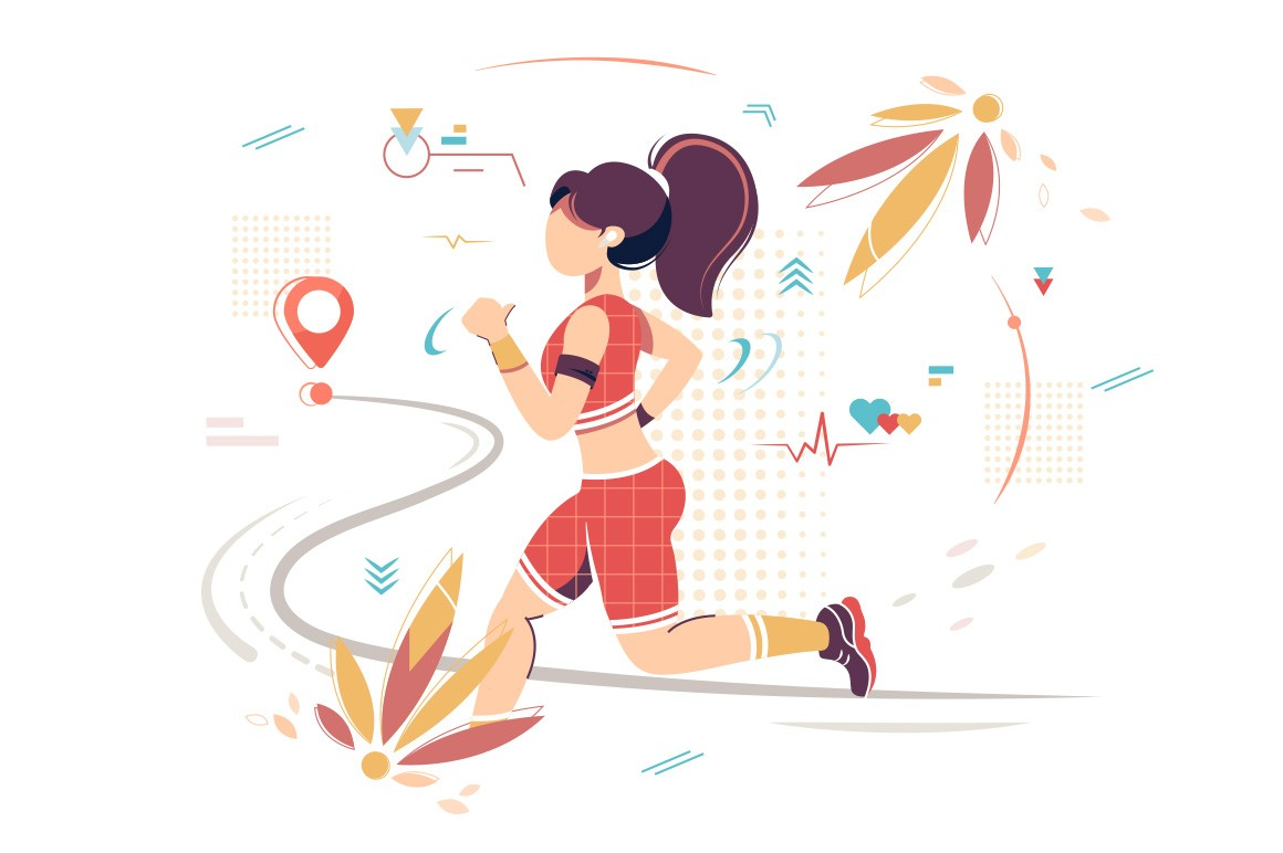 Flat sport woman with sportswear running to point.