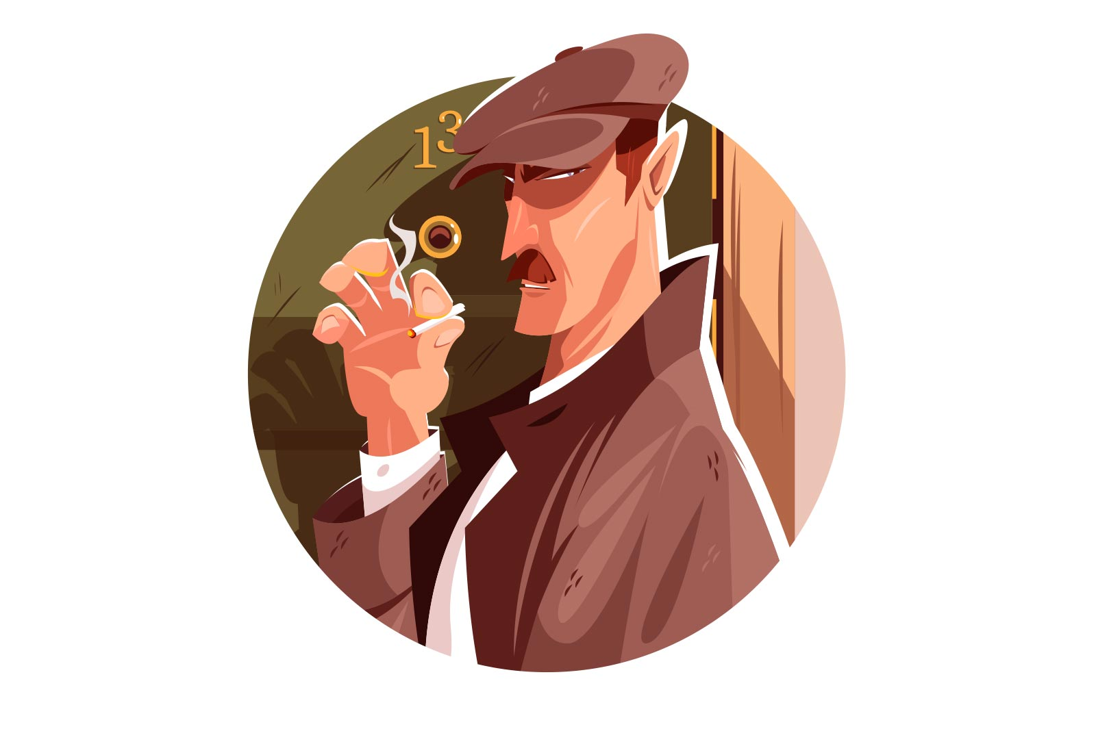 Secret spy man vector illustration. Clever person smoking cigarette and follows someone flat style. Mysterious agent. Criminal and danger concept. Isolated on white background