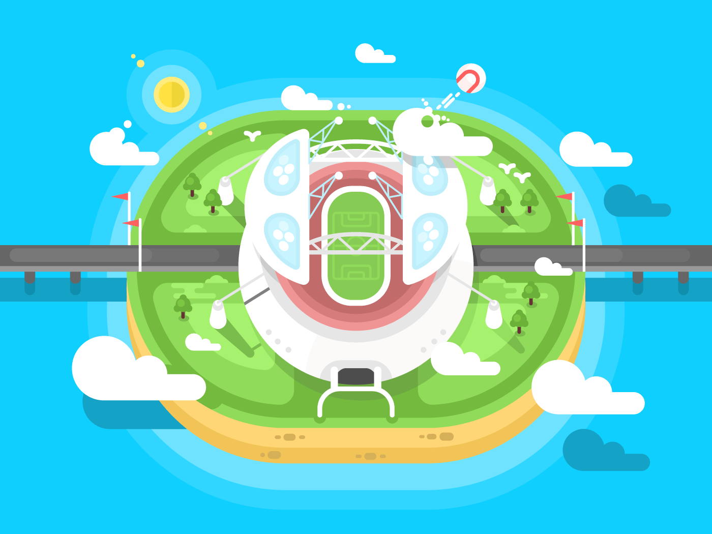 Stadium flat vector illustration
