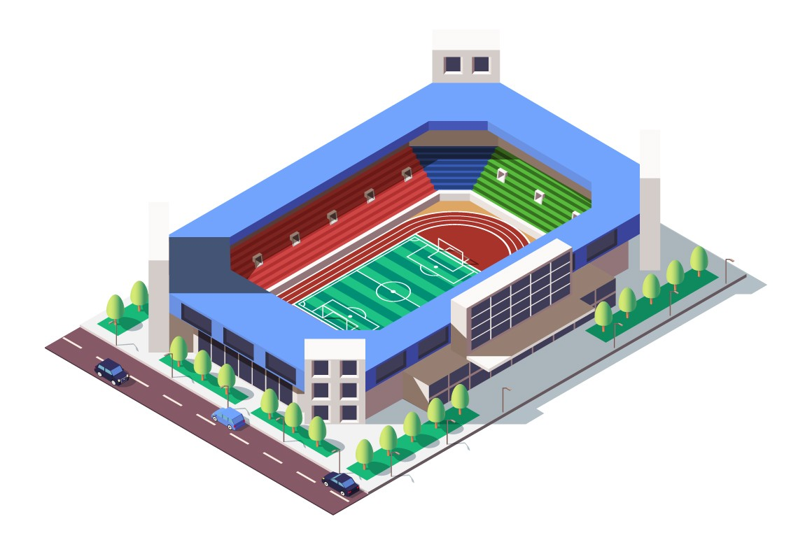 3d isometric square ground stadium near road with car.