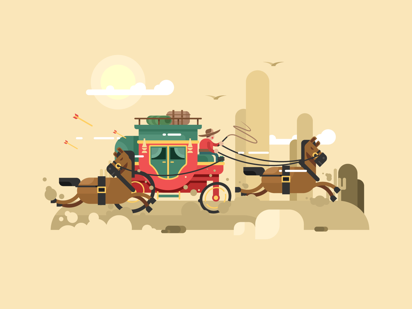 Stagecoach flat vector illustration