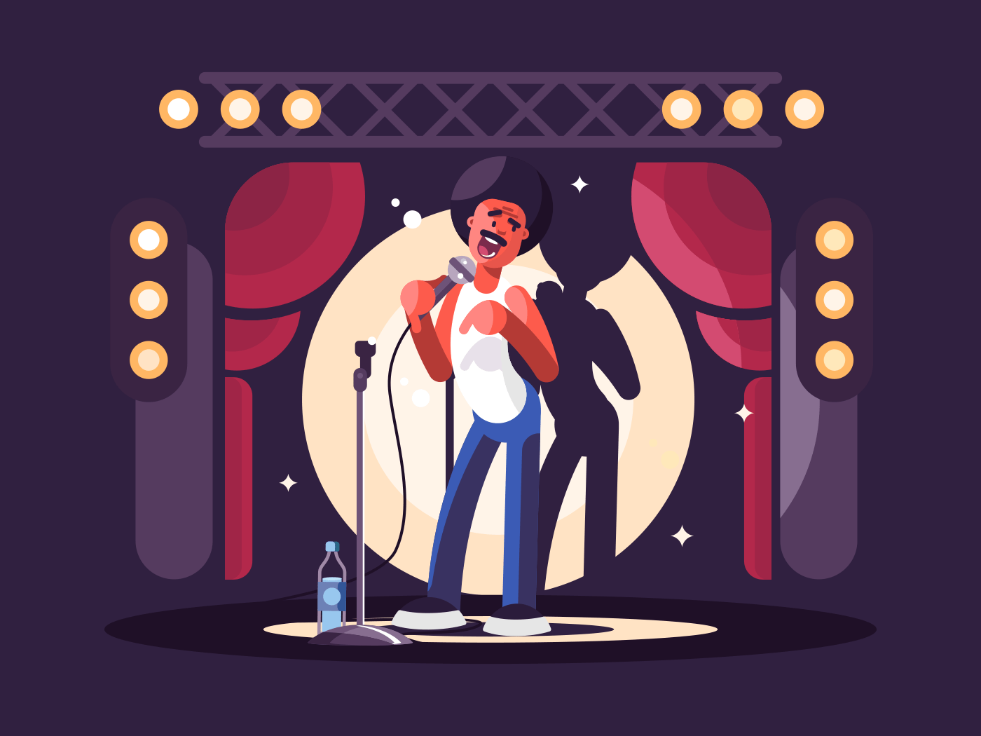Standup show character flat vector illustration