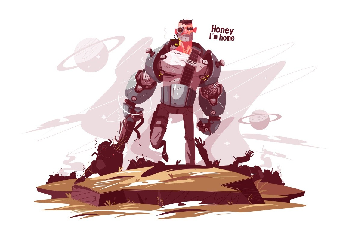 Star ranger at battlefield vector illustration. Armed man in armor with weapon going on field flat style design. Honey, I am home inscription. War concept