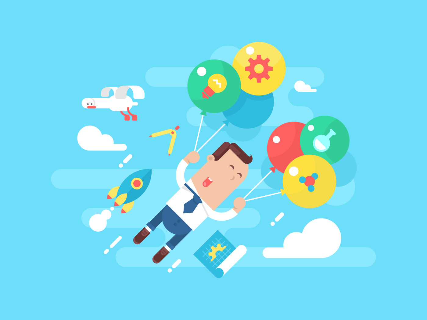 Business man fly with balloons. Concept startup flat vector illustration