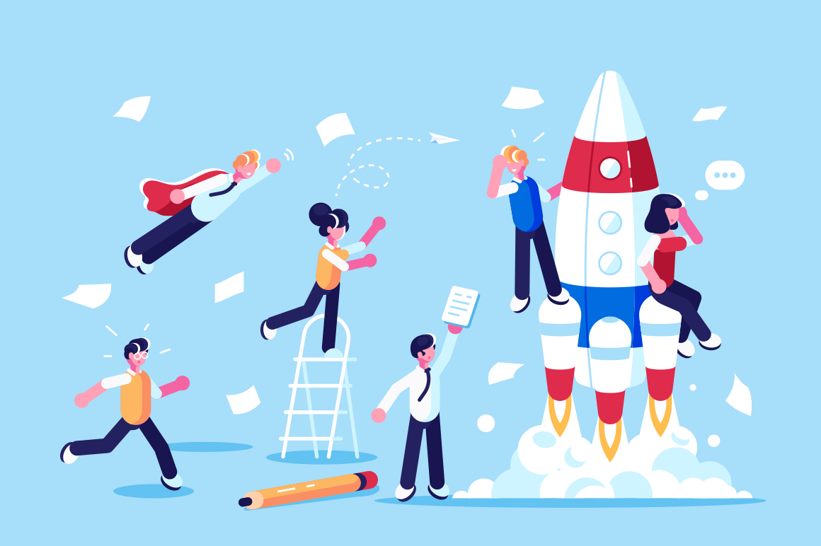Team of developers beginning new startup vector illustration. People working on new challenging project flat style concept. Workers developing blueprint. Business concept