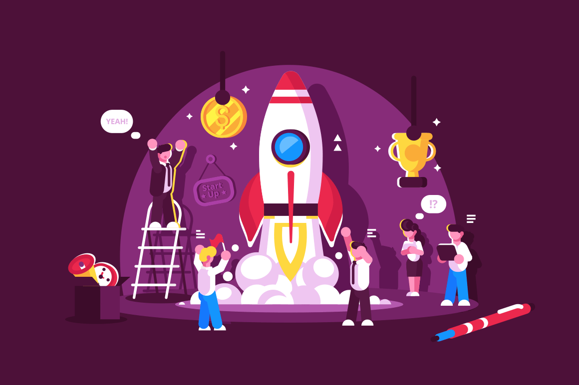 Red rocket start up space with people celebrating and cheering up vector illustration. Rocket launch. Win and job happiness concept. Isolated on pink background