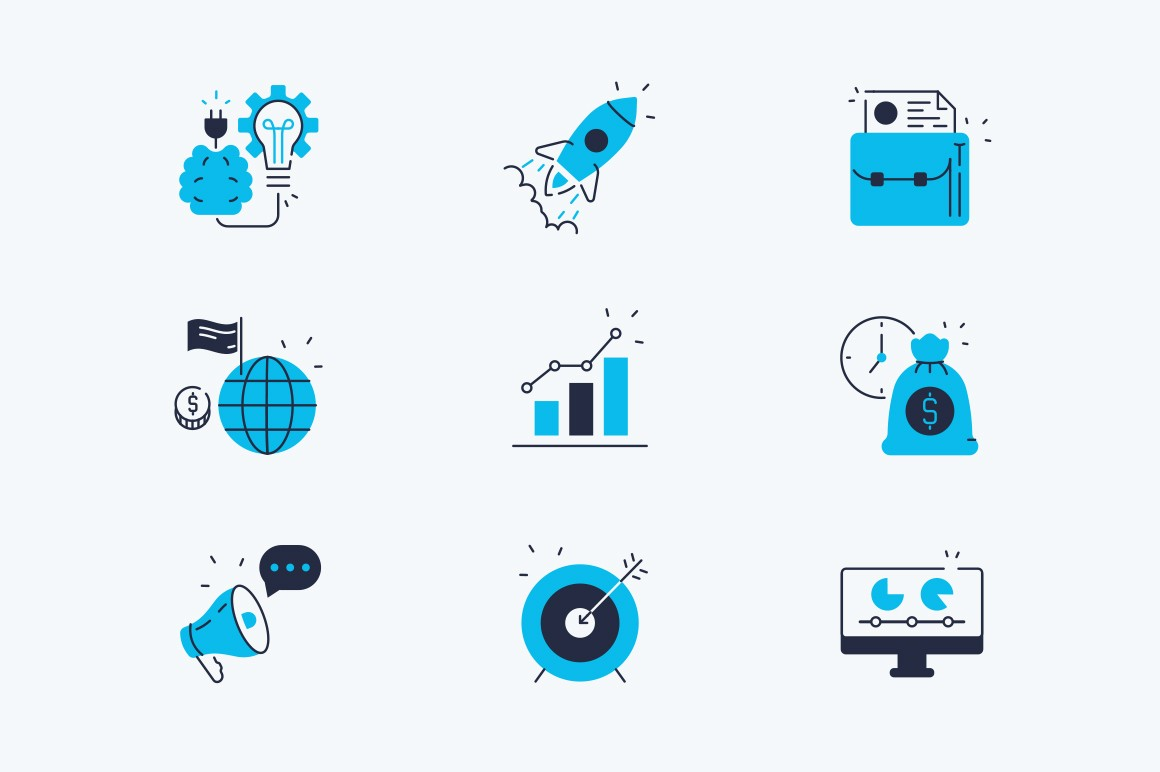Startup line icons set vector illustration. Composition consists of symbols new idea, rocket, promote, growth strategy and target flat style design. Business concept. Isolated on white
