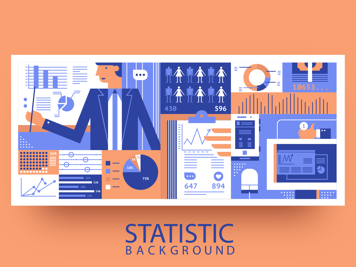 Statistic business abstract background