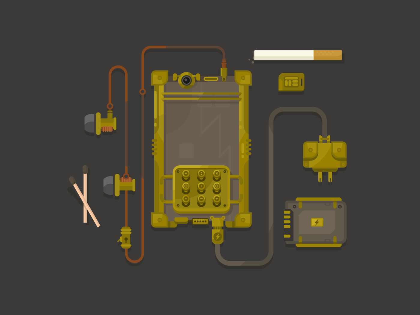Steampunk design mobile phone flat vector illustration