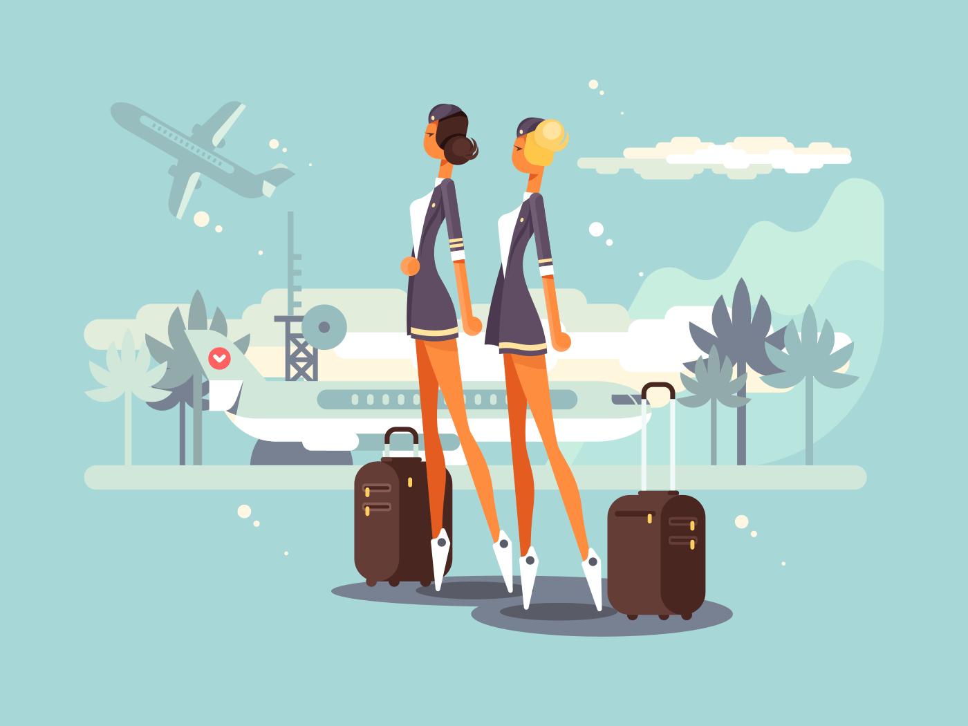 Beautiful flight attendants flat vector illustration