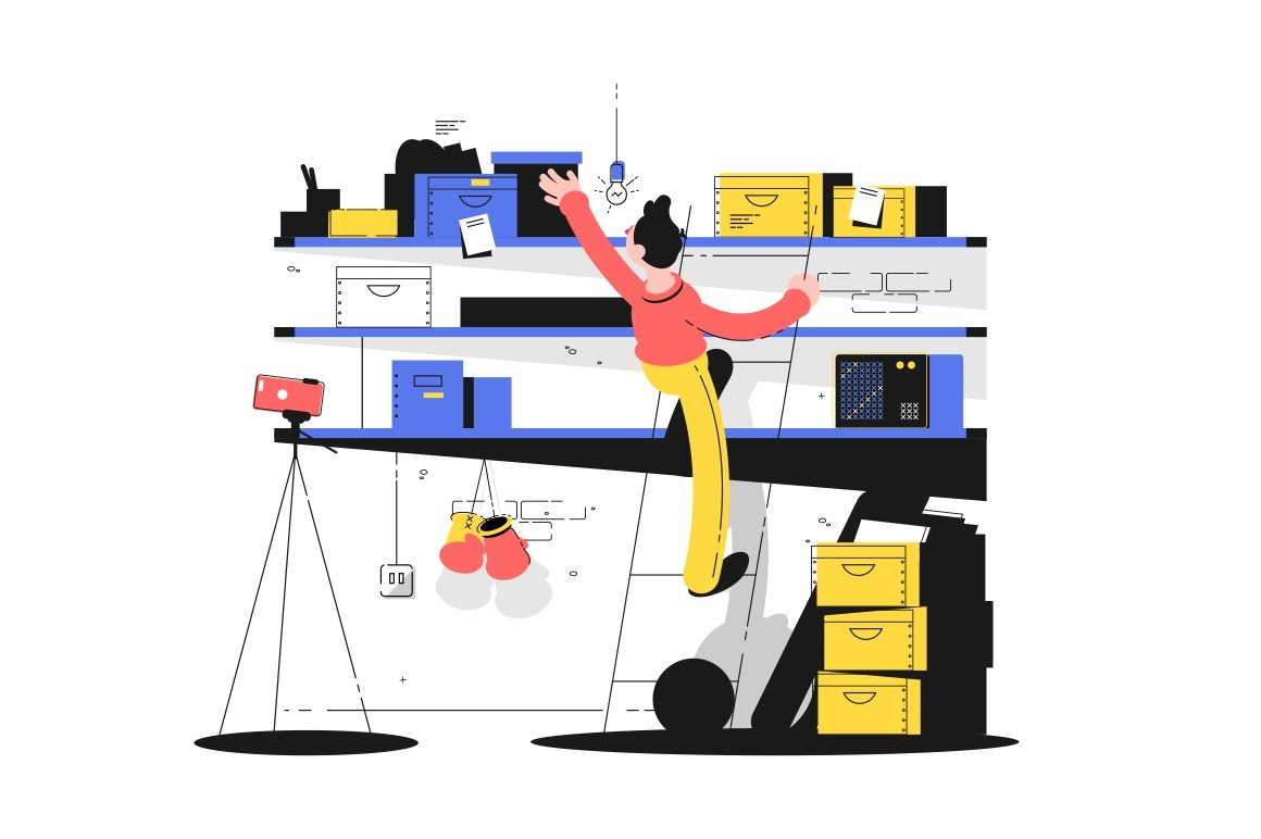 Man in storage vector illustration. Guy standing on stepladder and looking for something on littering shelves in storehouse with homes things flat style concept