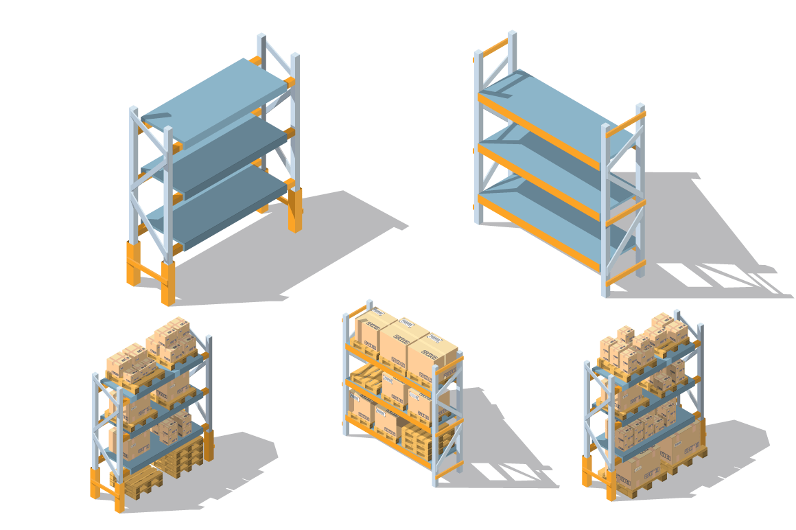 Set storage racks with boxes and pallets.