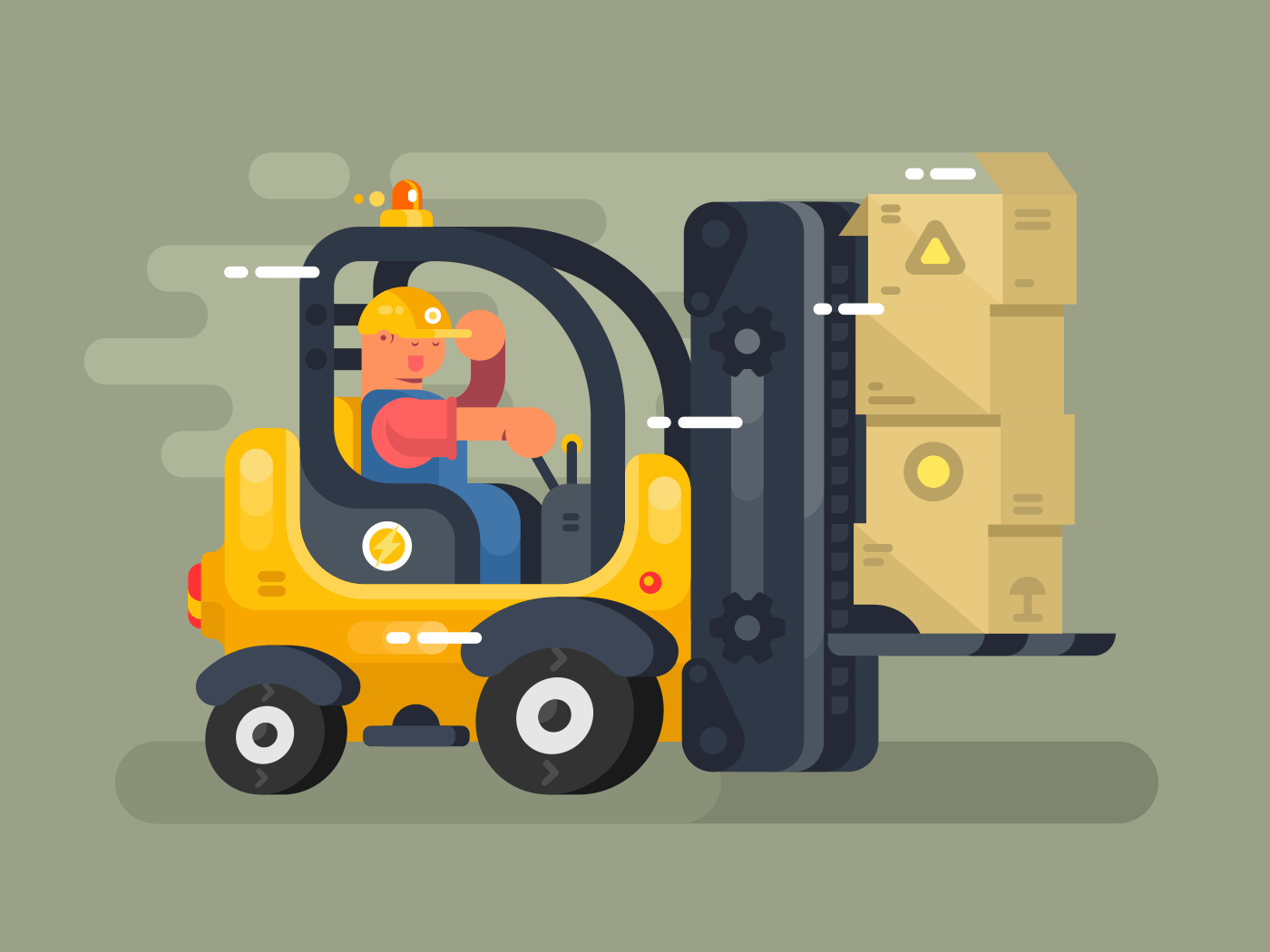Storekeeper loader flat vector illustration