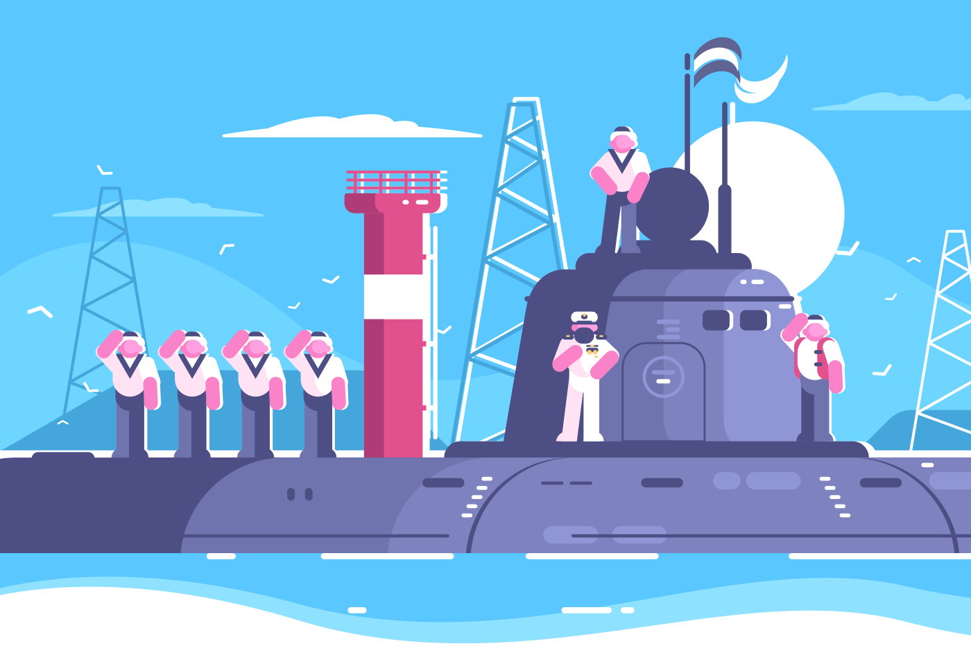 Captain with crew standing on submarine. Warship in sea. Vector illustration