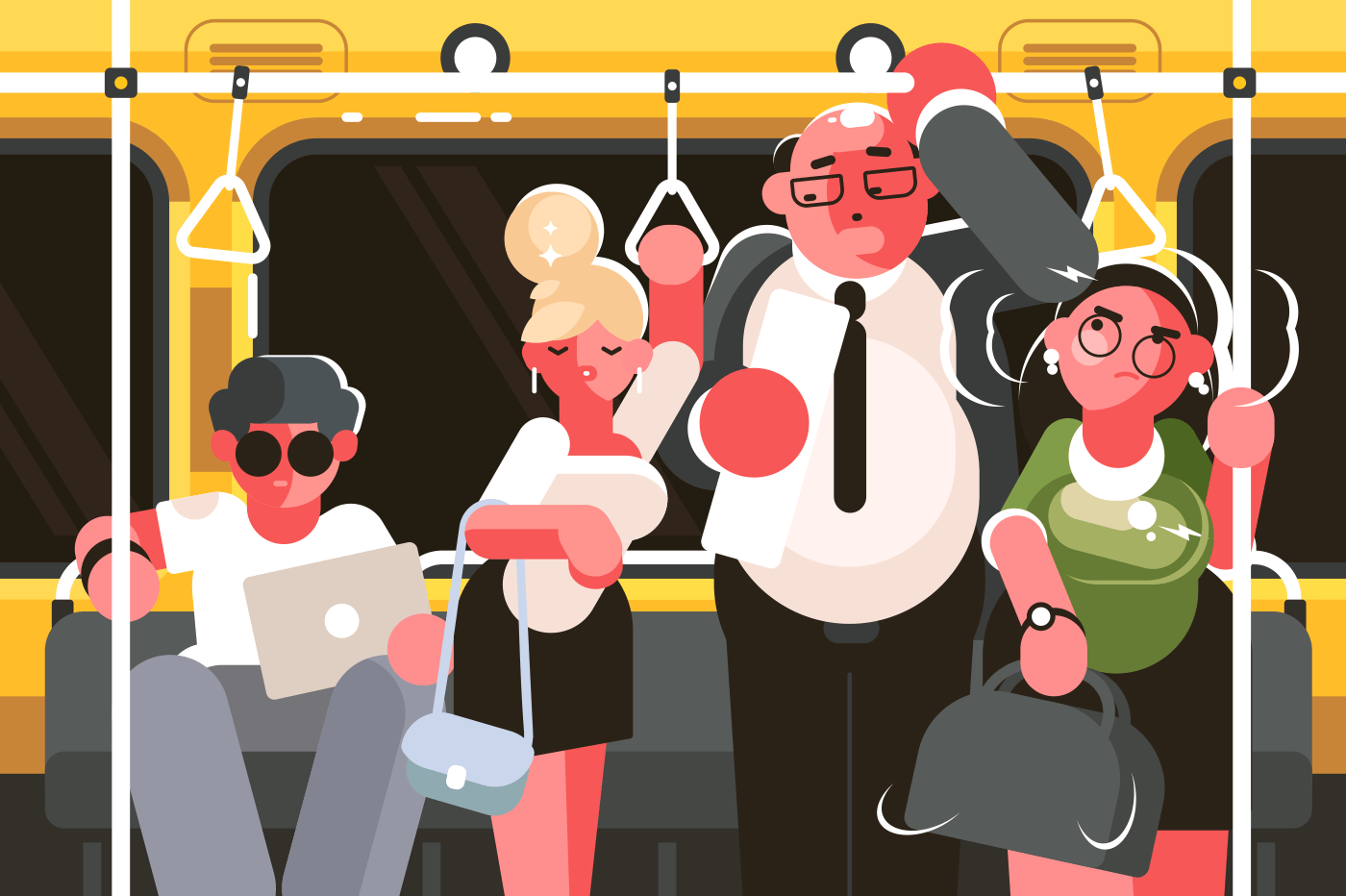 Passengers in subway car. Rush hour in public transport. Vector illustration