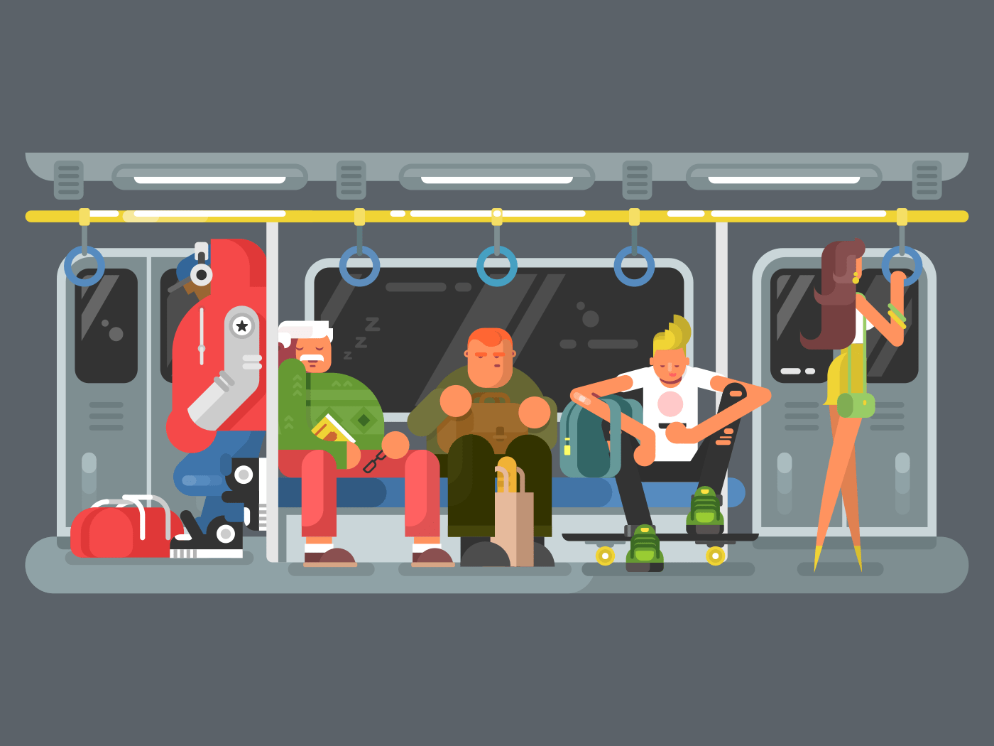 Subway with people flat vector illustration