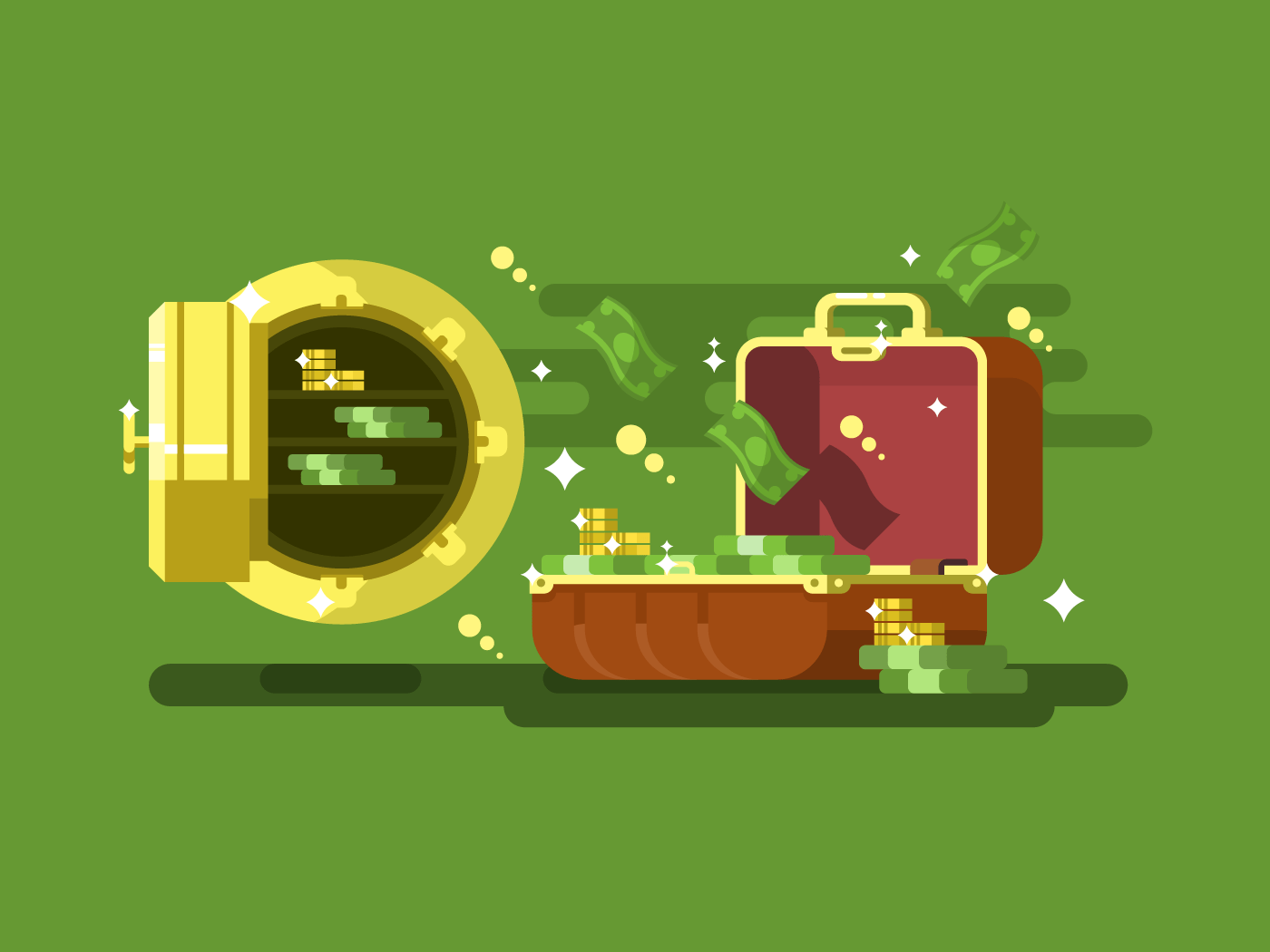 Suitcase and safe with money flat vector illustration