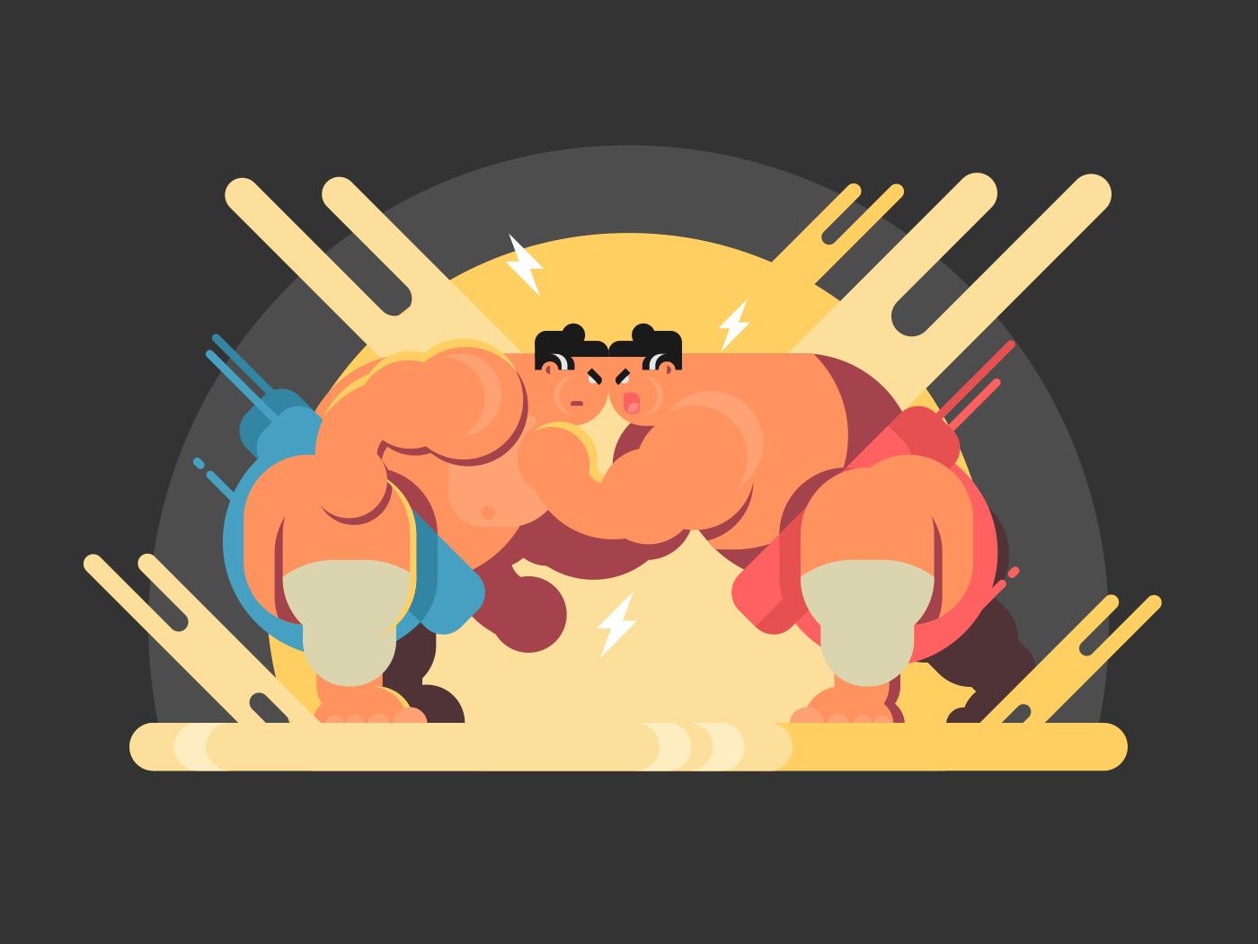 Sumo athletes fight flat vector illustration
