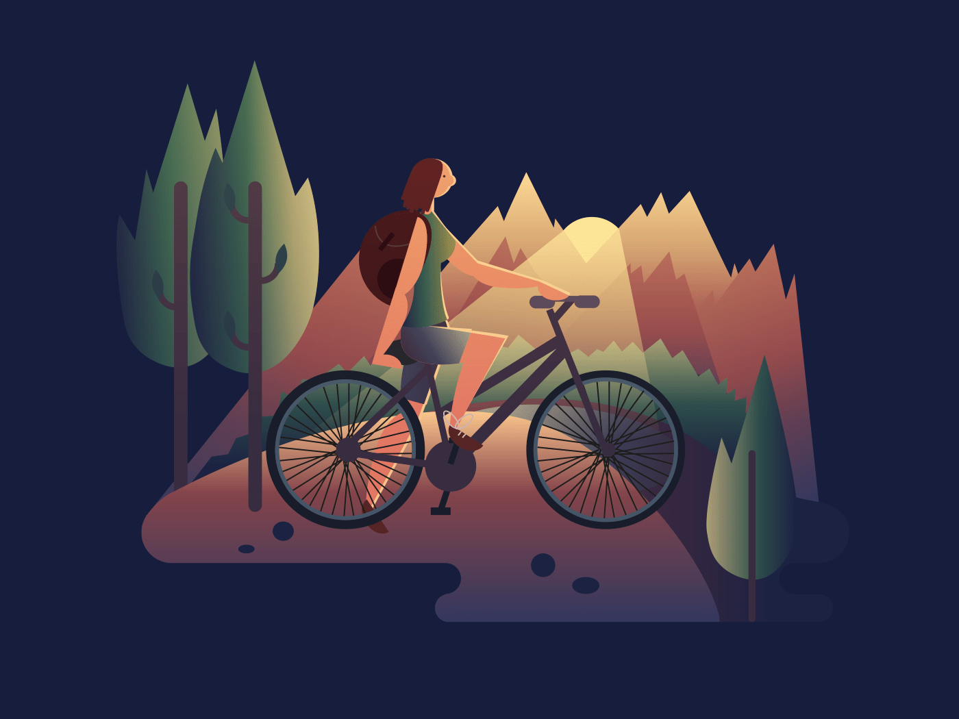 Girl on bicycle at sunset illustration