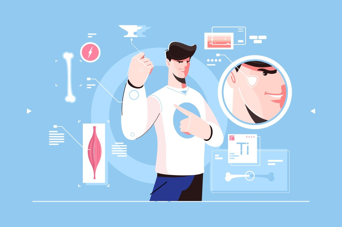 Superman character scheme with muscle icons vector illustration. Micro view of power and face sign, man showing hand. Strong human and biology of person
