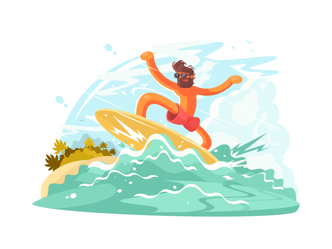 Surfer guy in sunglass illustration