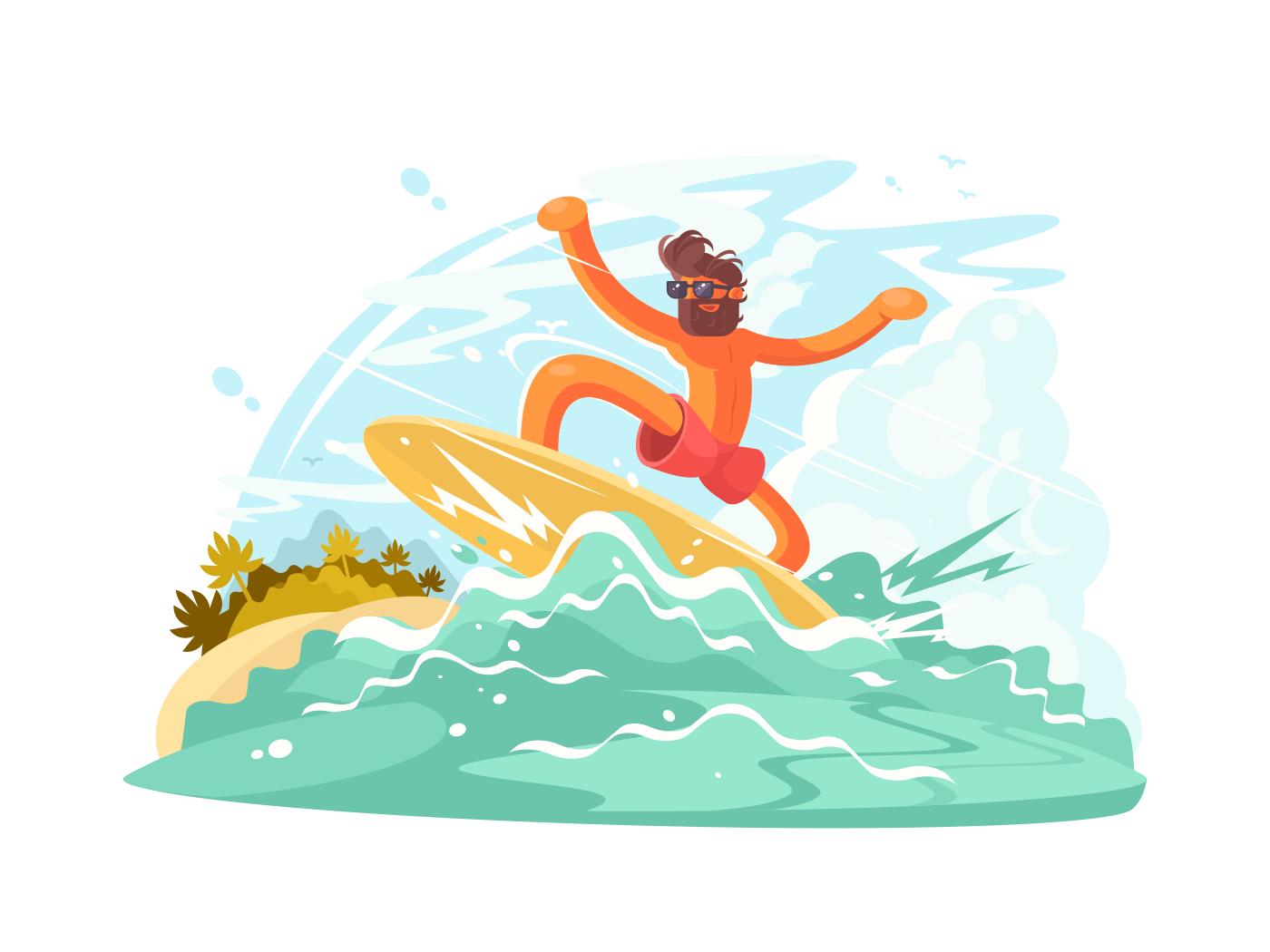 Surfer guy in sunglass illustration