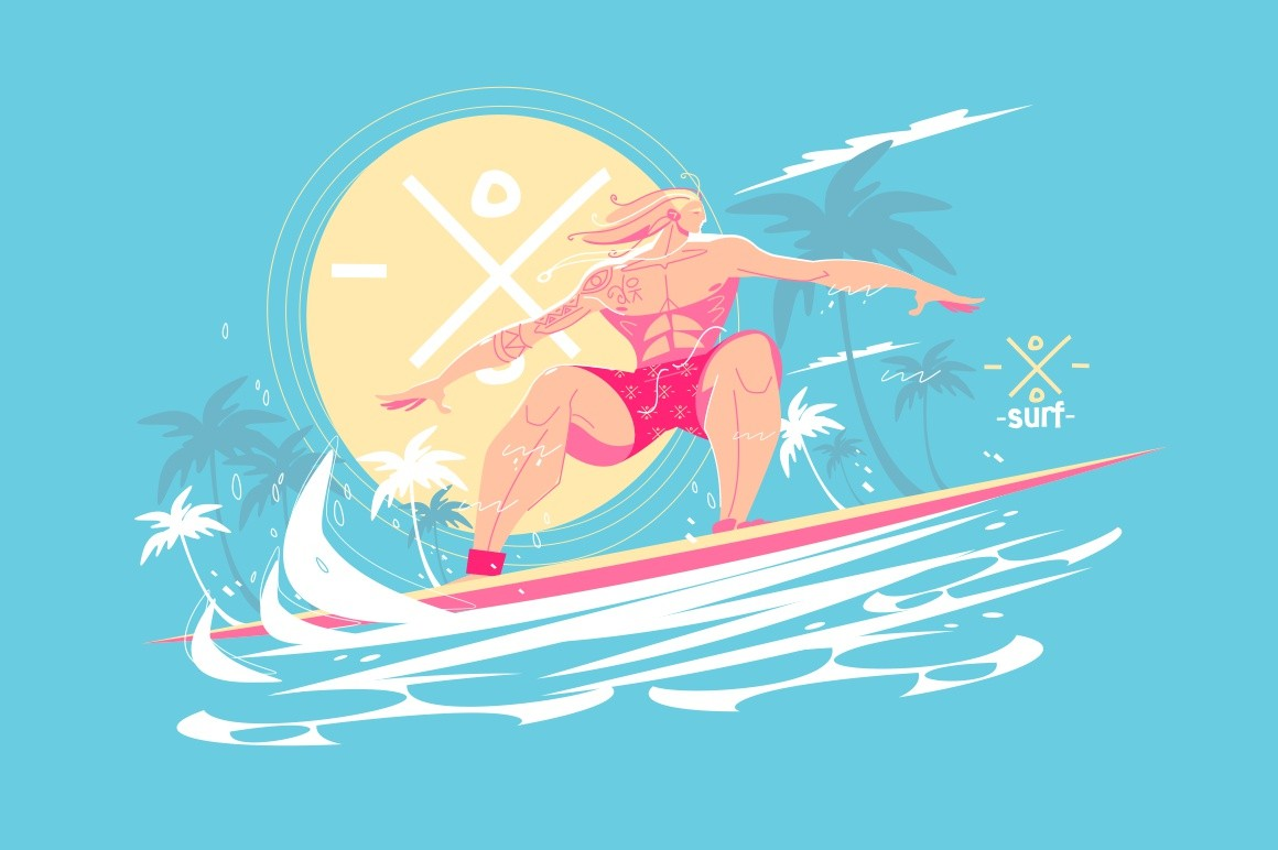 Guy standing on surfboard vector illustration. Young man surfing on ocean waves flat style design. Water activity and extreme sport concept. Sun and palm trees on background