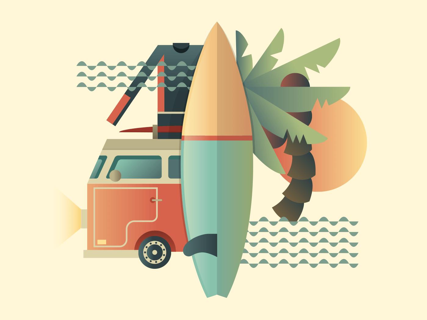 Surfing design illustration