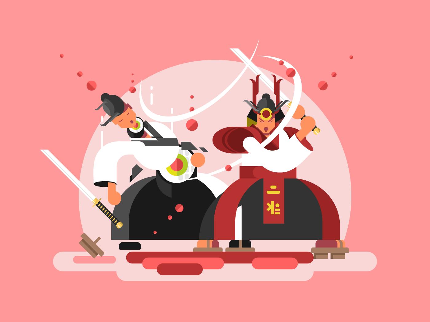 Sushi samurai flat vector illustration