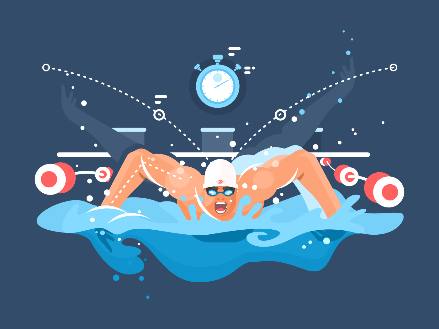 Swimmer in competition flat vector illustration