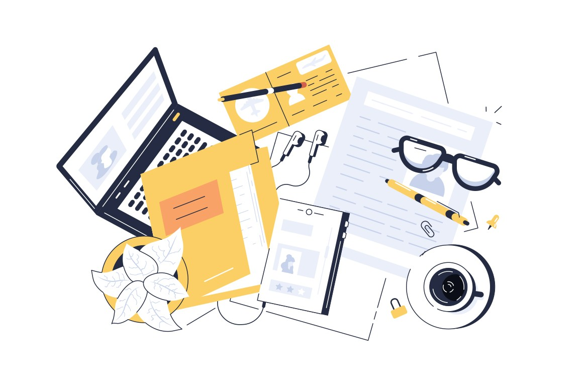 Working space interior vector illustration. Piled table with modern laptop documents files tickets glasses and cup of coffee flat style design. Workspace concept