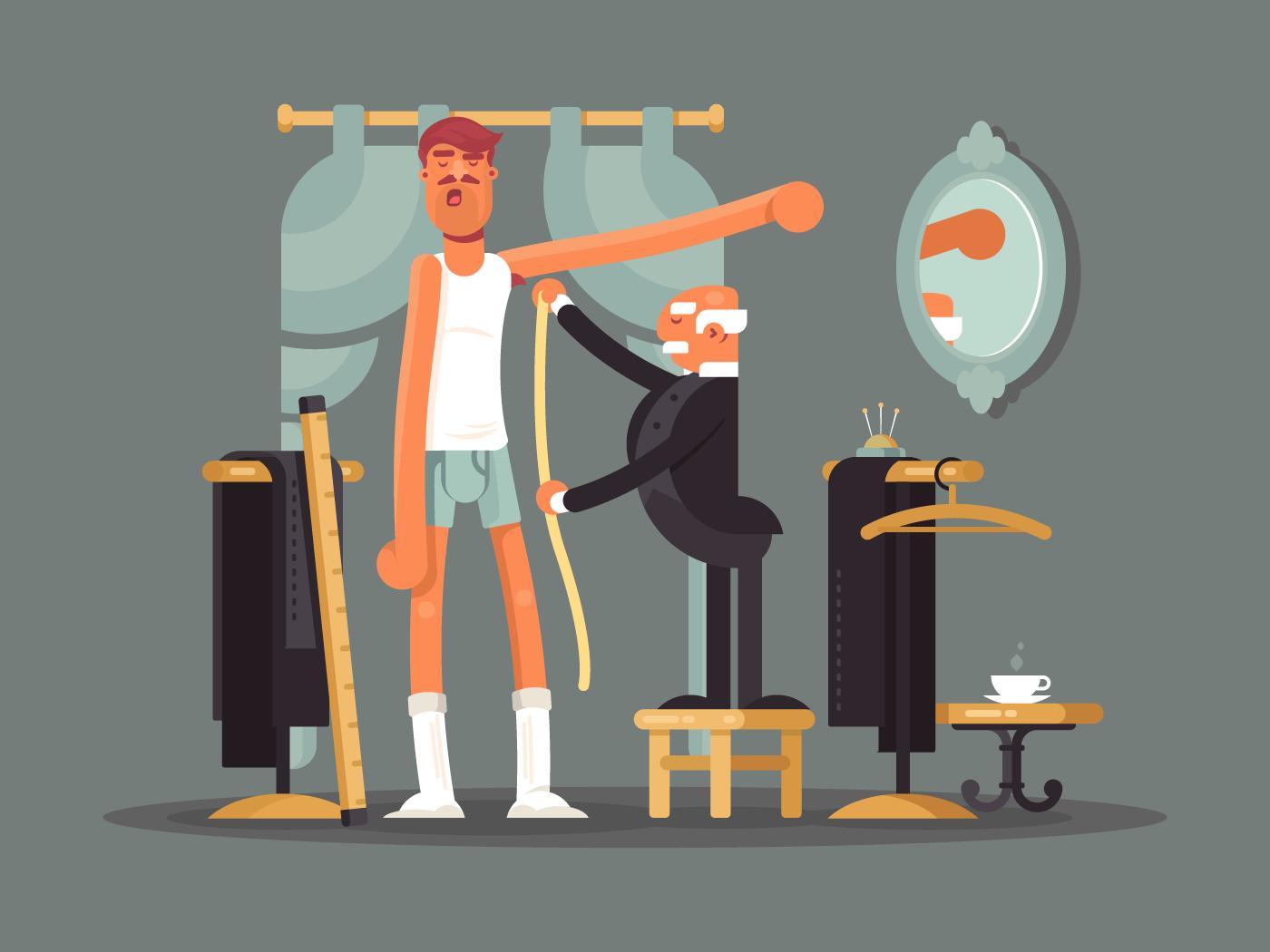 Taking measures at tailor shop flat vector illustration