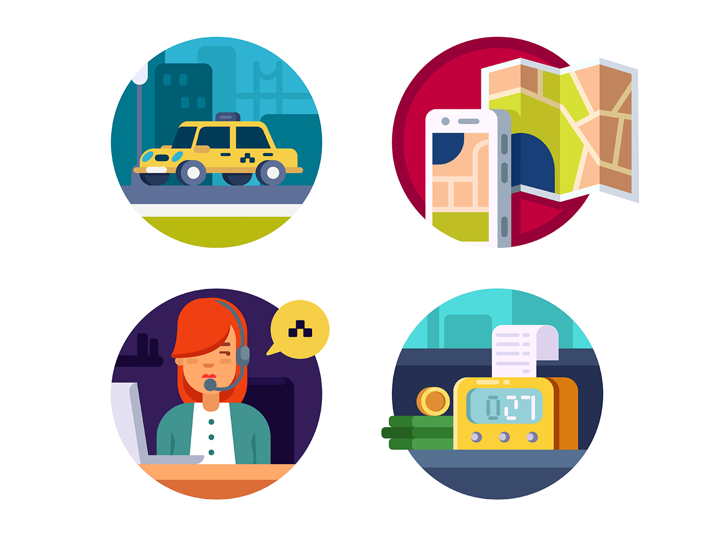 Service taxi icons