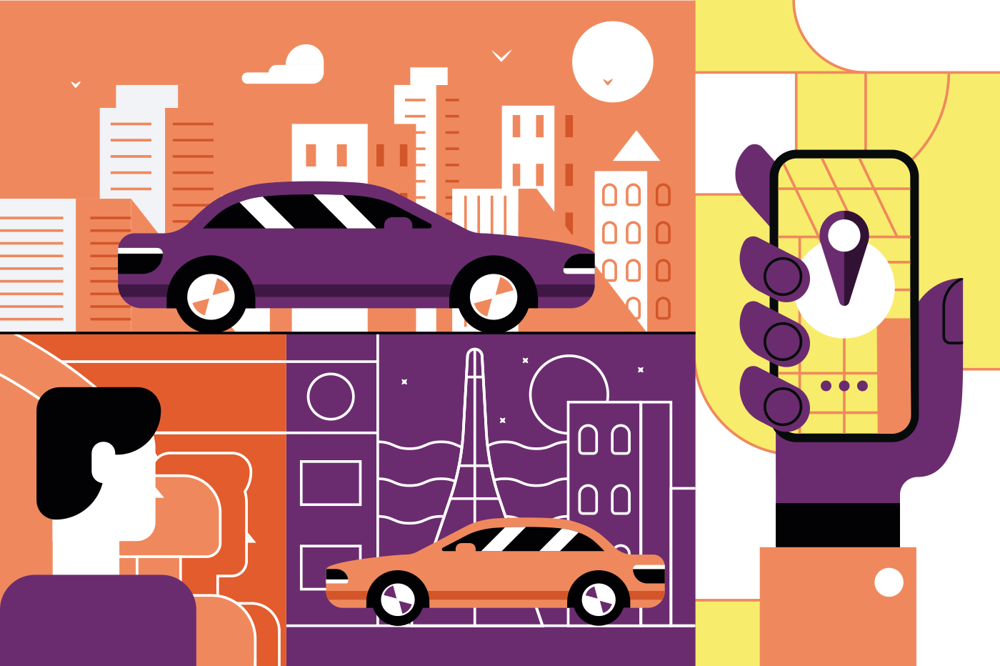 Taxi service online mobile application concept. Cab order with smartphone app. Flat. Vector illustration.