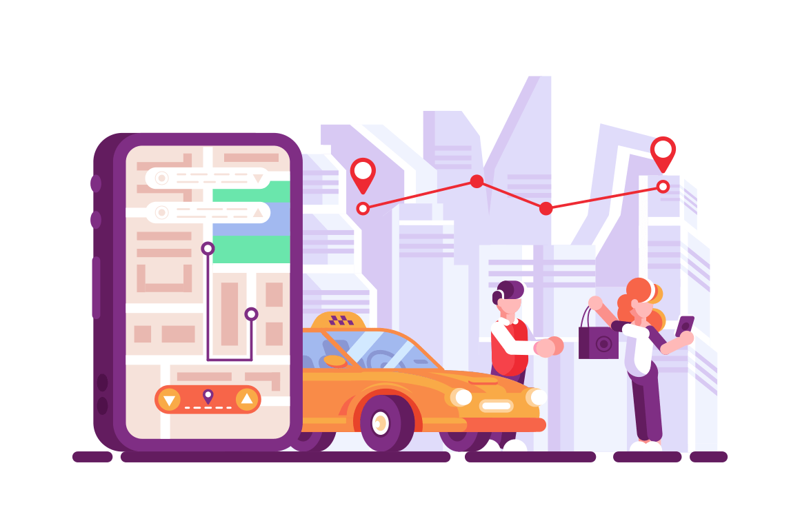 Online taxi open mobile app on smartphone screen. Woman calling taxicab via cellphone application flat vector illustration. Driver helping girl with baggage