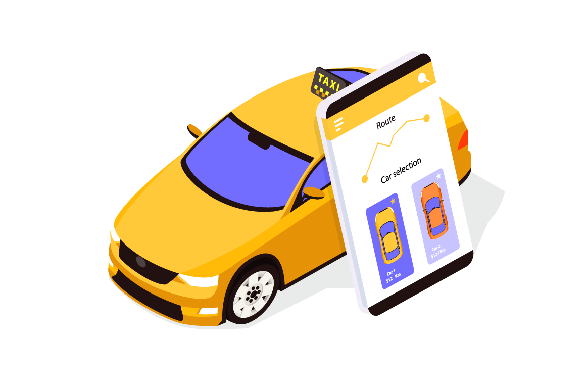 Flat taxi car app with mobilephone and map with track.