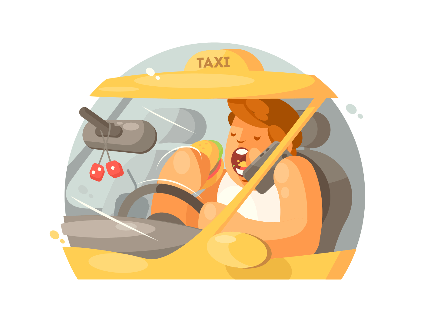 Taxi driver driving illustration