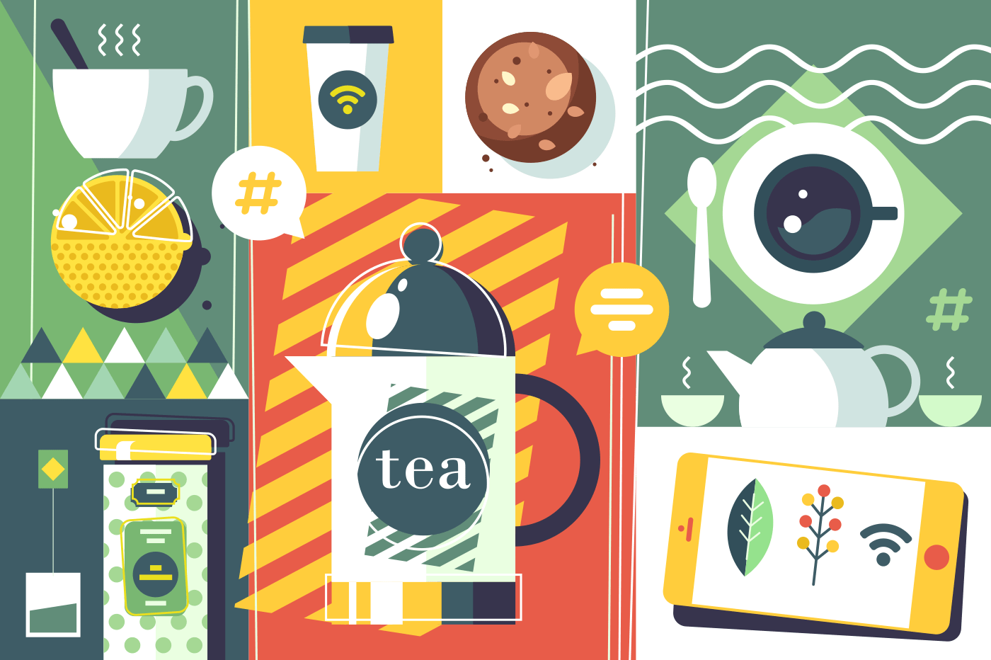 Tea time abstract style. Teapot and hot invigorating drink with cookies. Vector illustration